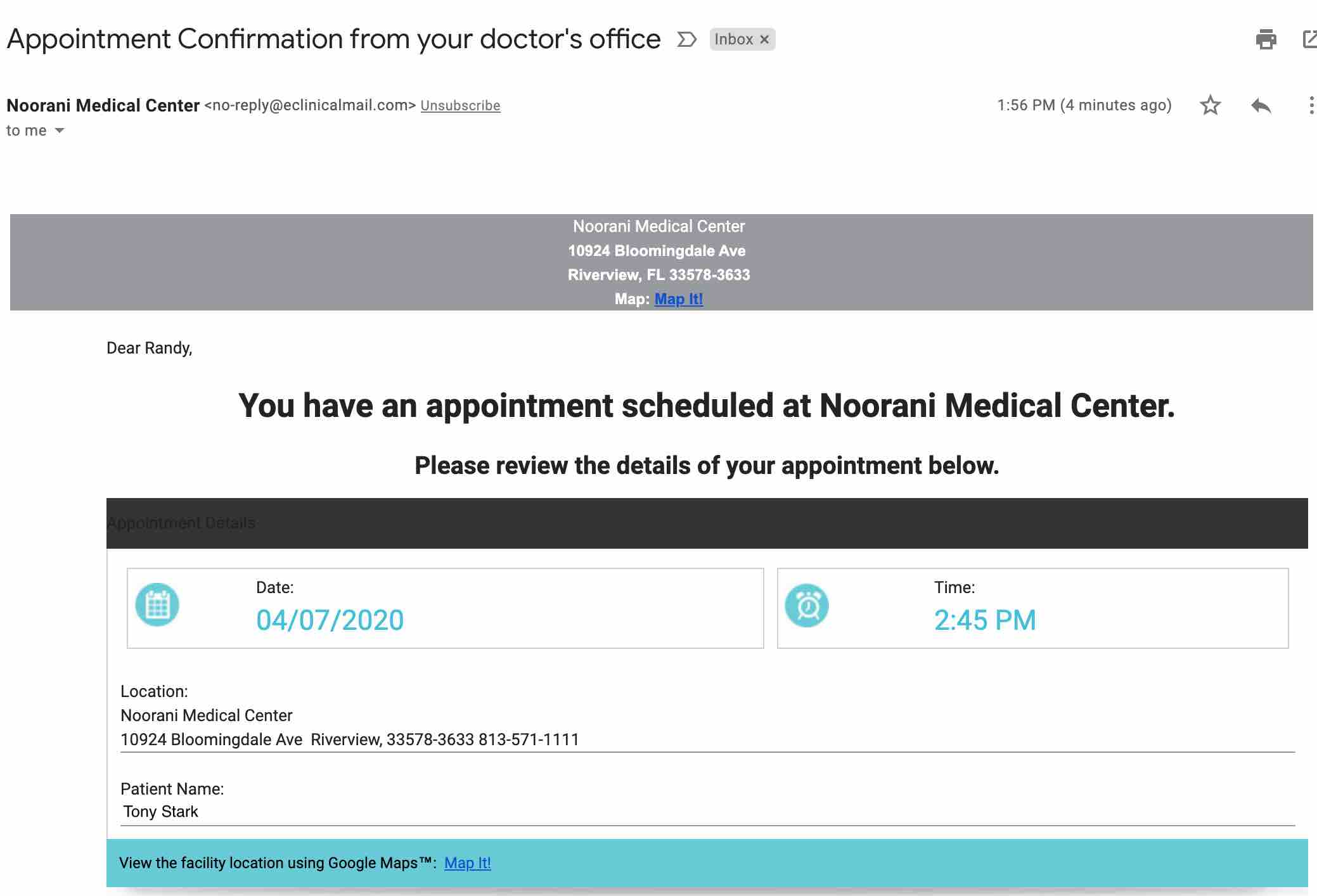 Telehealth Appointment Set Email